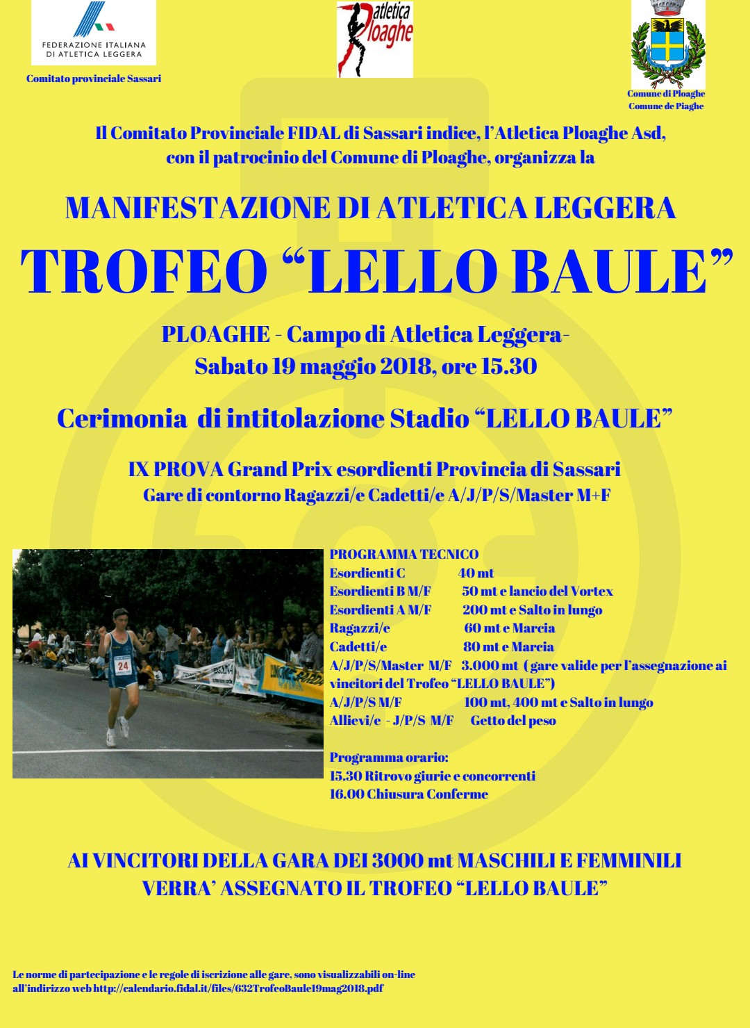 Calendario Fidal Sardegna.Trofeo Lello Baule E Cerimonia D Intitolazione Dello Stadio