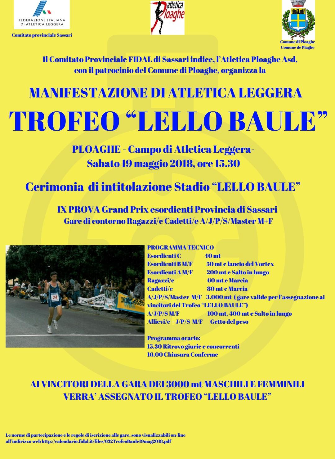 Fidal It Calendario.Manifestazione Trofeo Lello Baule